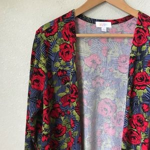 LuLaRoe Blue Red Rose Sarah Cardigan Sweater NWOT
